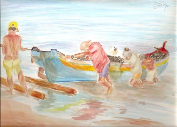 Boceto para pescadores y barca