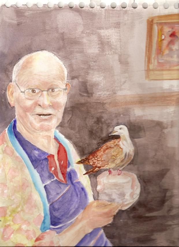 Jubilado con paloma