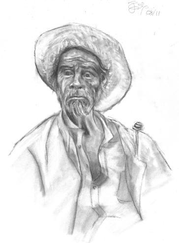 Campesino con sombrero de paja y mucha dignidad