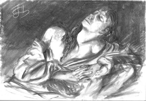 María Magdalena según Caravaggio pero Light, o sea con 0% de Caravaggio
