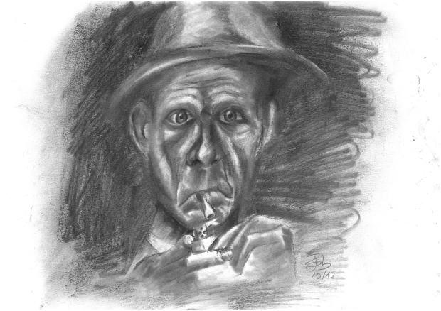 Fumador con sombrero