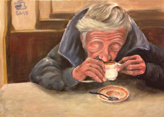 "Hombre tomando una ""relaxing cup of café con leche en Plaza mayor"" / Poor man having a flat latte.... a white coffe... whatever."